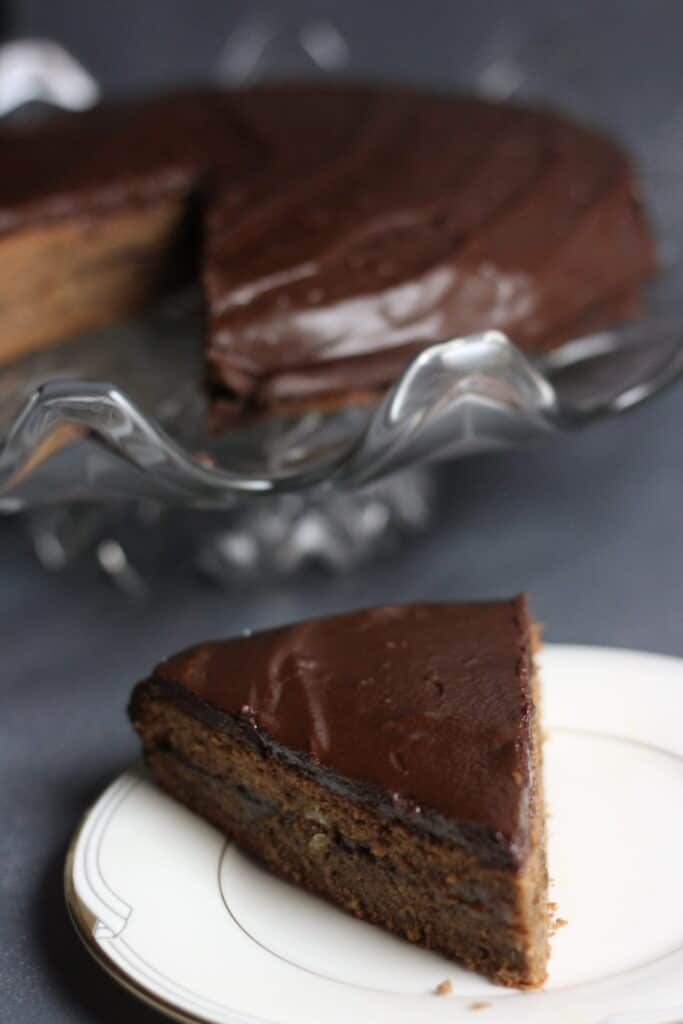 Sacher torte with a slice taken out