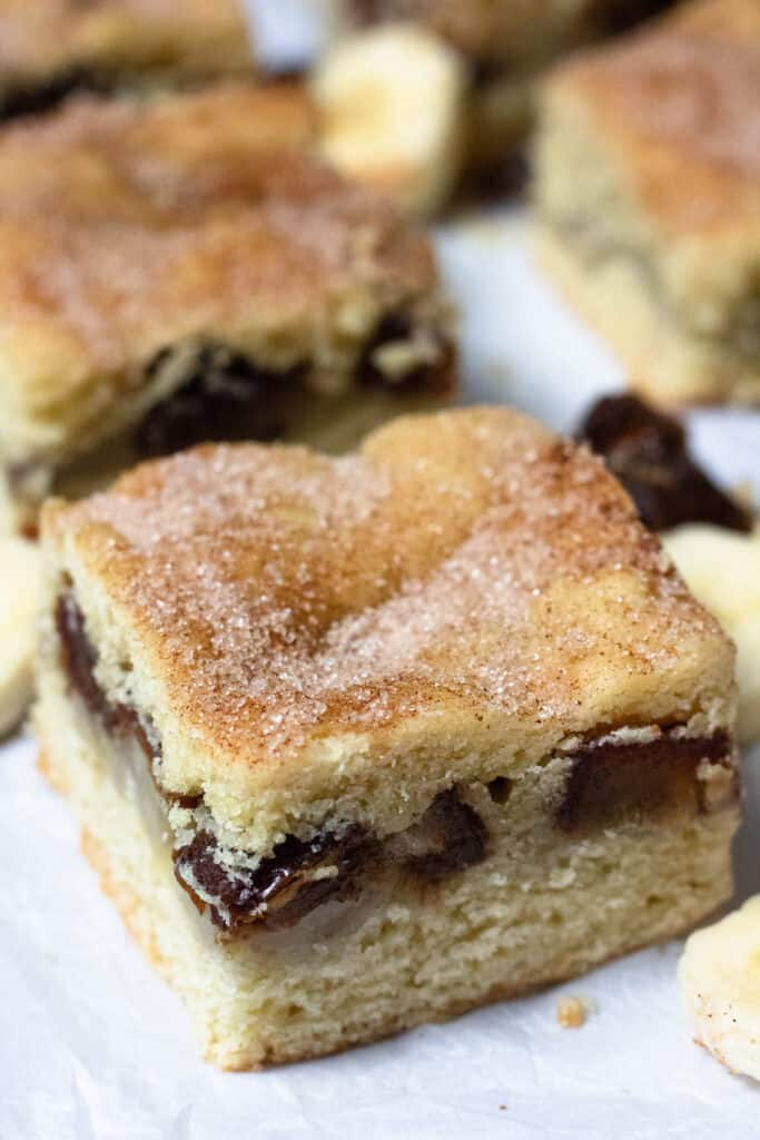 close up view of snickerdoodle cookie bars with date filling