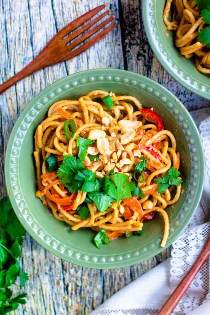 Overhead view of Thai Peanut Noodles in the Instant Pot