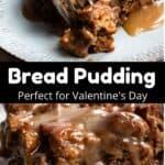 Valentine's Day Bread Pudding Pinterest Image middle black banner
