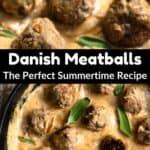 Summertime Danish Meatballs Pinterest Image middle black banner