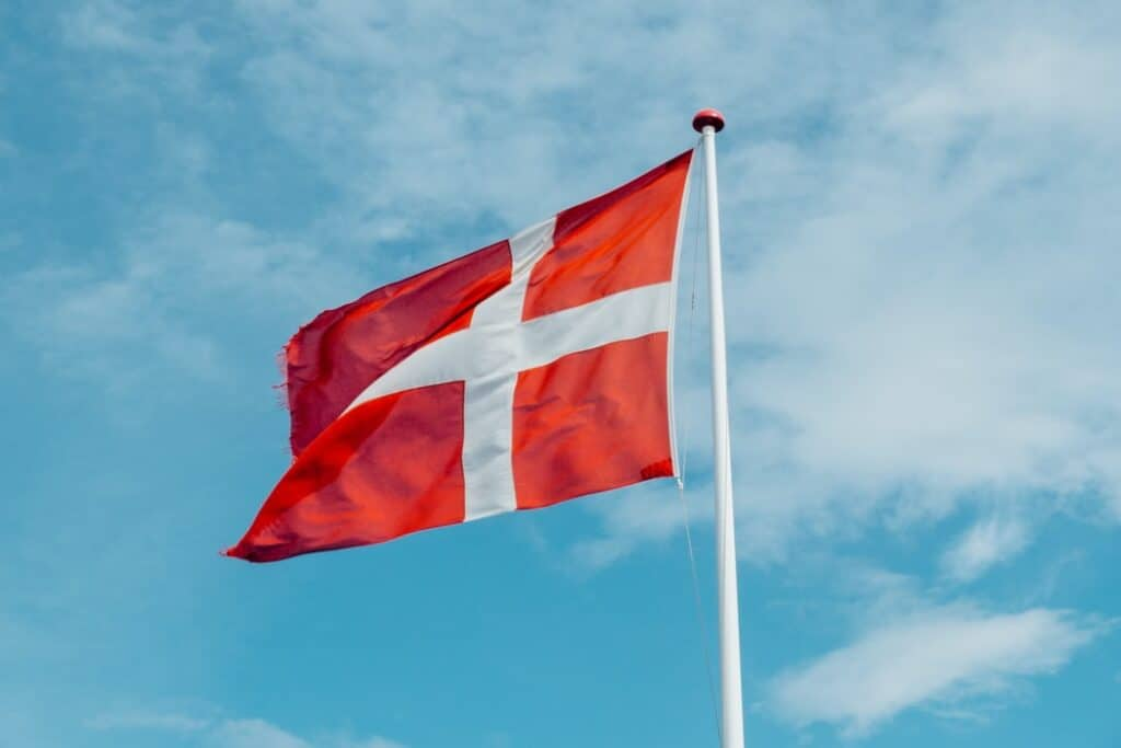 Danish flag in the sky