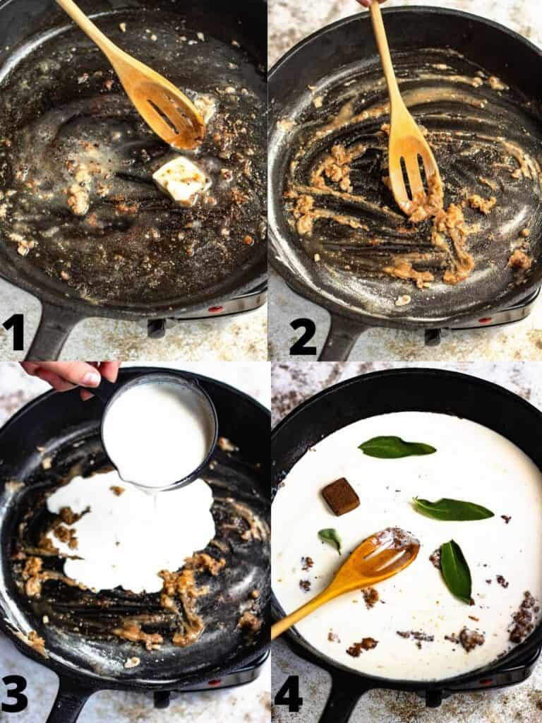 Collage for how to make cream-based gravy