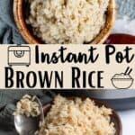 Instant Pot Brown Rice Pinterest Image middle design banner