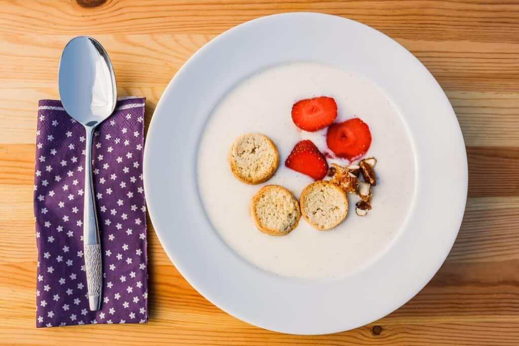 Bowl of Danish breakfast with strawberries