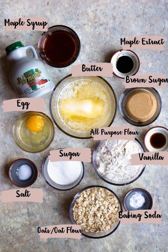 Maple cookie ingredients