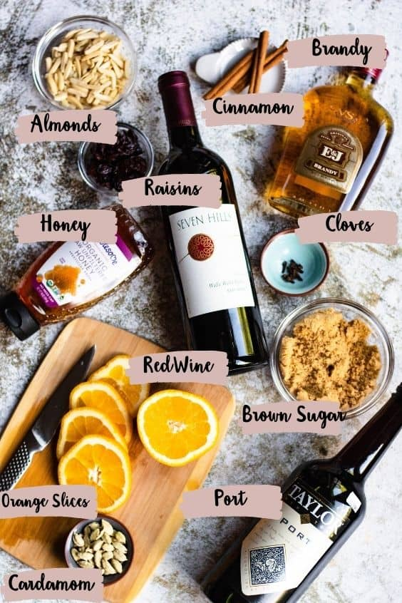 Ingredients for Glogg in the Instant Pot