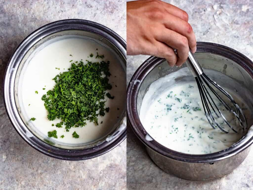 Parsley sauce step by step with added parsley and a mixing photo