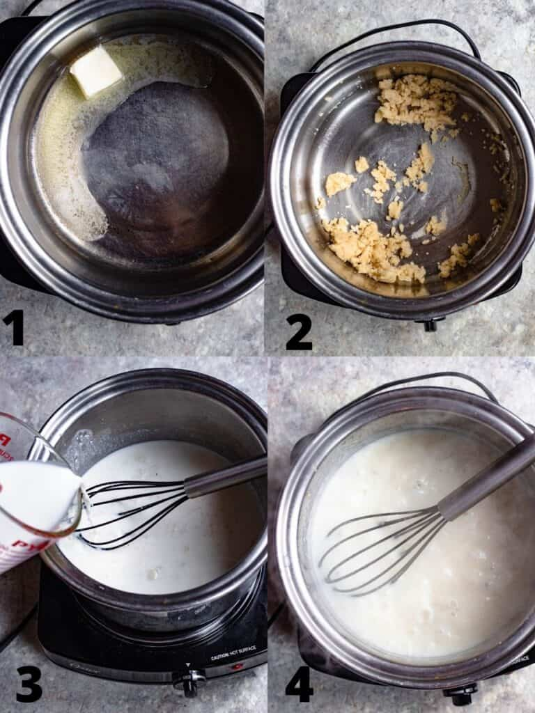Step by Step photo to make cream-based sauce