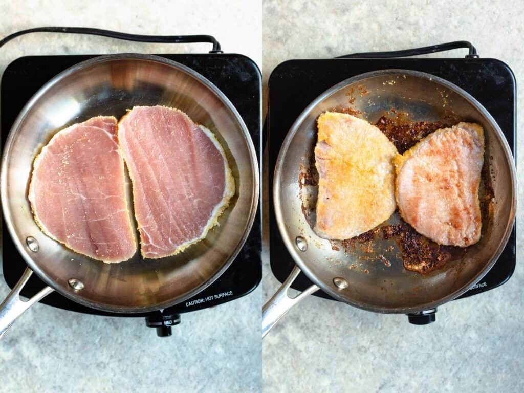 Collage of peameal bacon cooking in a pan, starting with raw and ending with cooked
