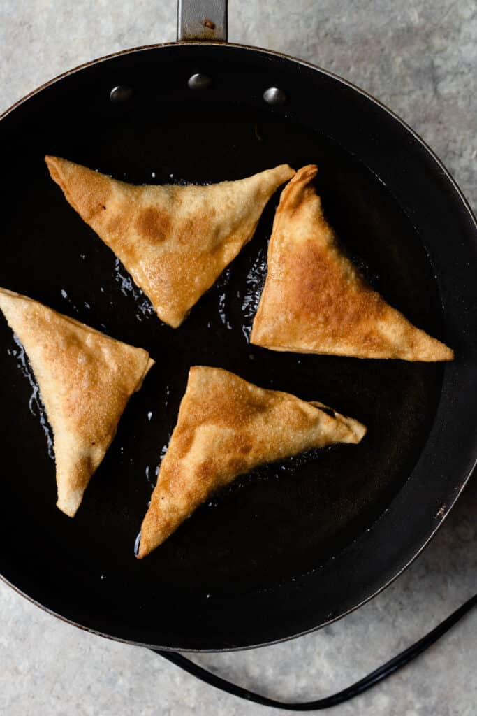 Samosas in the frying pan