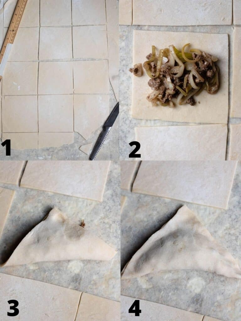 4 photo collage of how to fold samosas