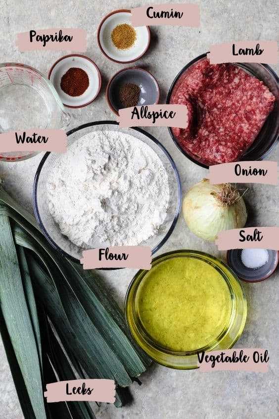 Ingredients shot with labels