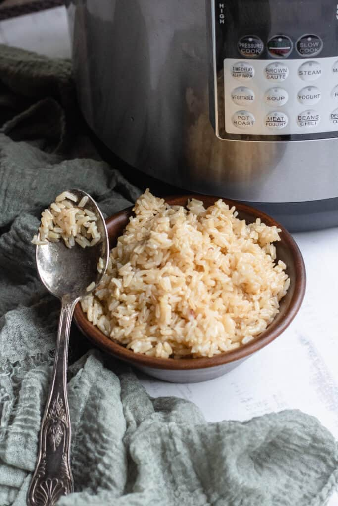 Bowl of brown rice with spoon and Instant Pot