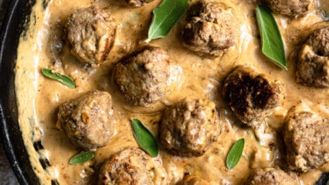Frikadeller in a cast iron skillet