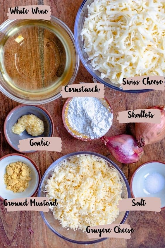 Cheese fondue ingredients