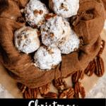 Christmas Snowball Cookies Pinterest Image Bottom Black Banner