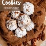 Christmas Snowball Cookies Pinterest Image Top Left Banner