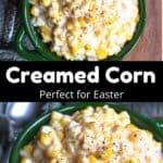 Creamed Corn Pinterest Image middle black banner