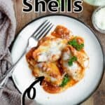 Delicious Easy Stuffed Shells Pinterest Image top outlined title
