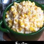 Creamed Corn Pinterest Image bottom black banner