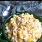 Creamed Corn Pinterest Image top black banner