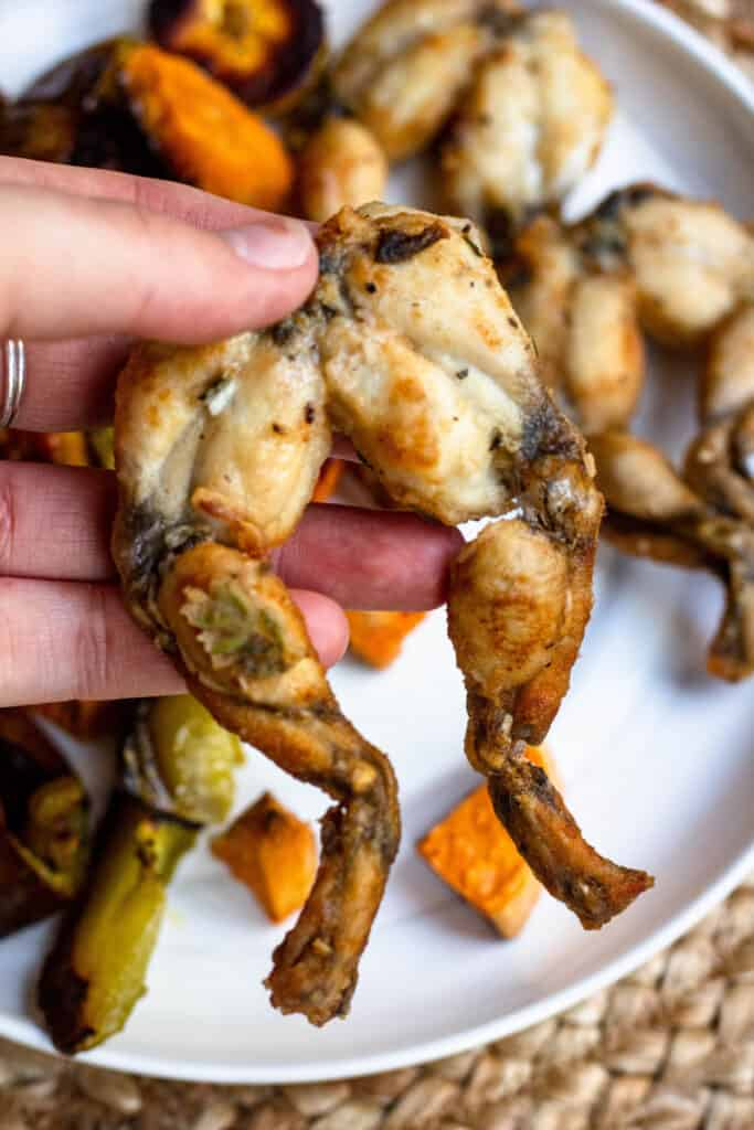 A hand holding cooked and fried legs