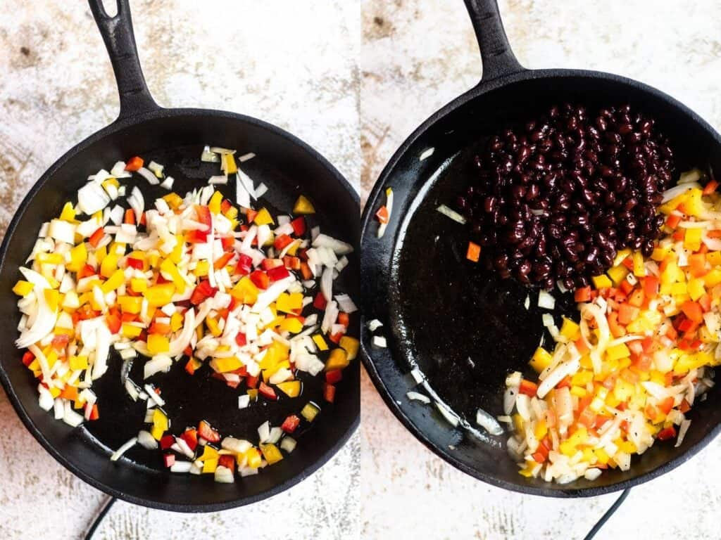 Side by side collage of skillet with vegetables and beans