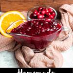 Homemade Cranberry Sauce Pinterest Image bottom black banner