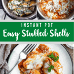 Instant Pot Easy Stuffed Shells Pinterest Image Green Middle banner