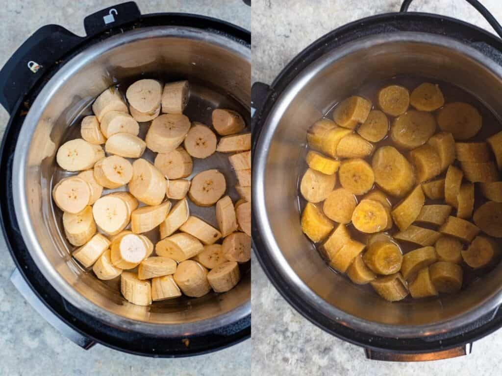 collage of cooking plantains in the Instant Pot