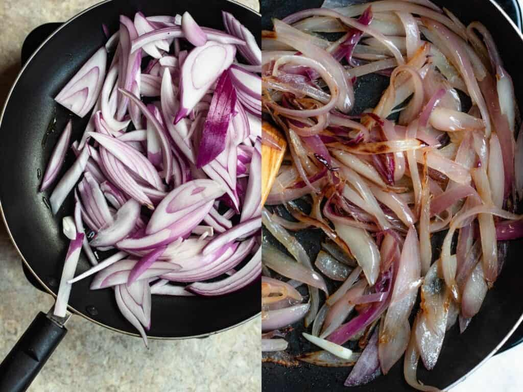 Collage of sauteed red onions