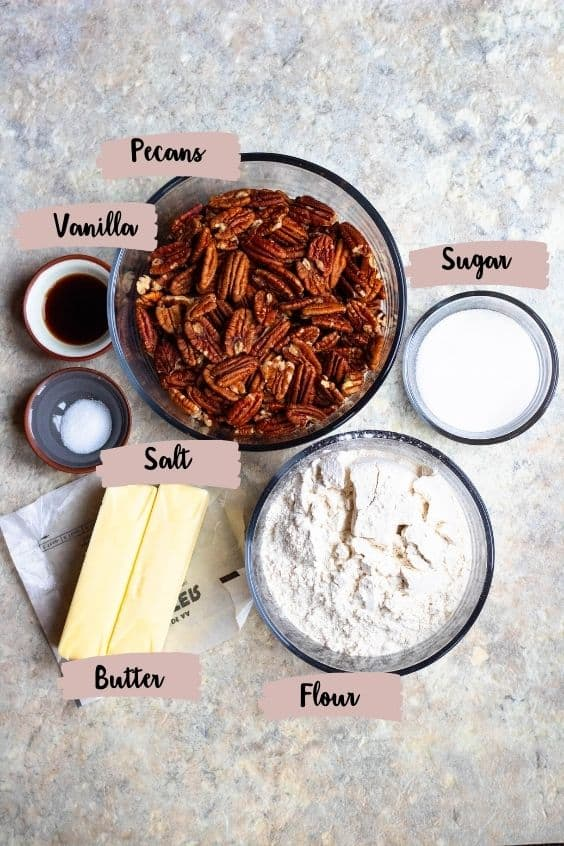 Ingredients for Pecan Snowball Cookies