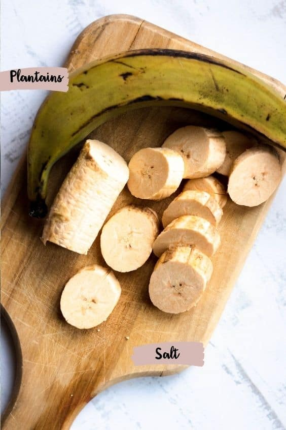 Labeled ingredient shot with plantains and salt