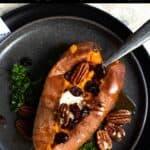 Summertime Sweet Potatoes Pinterest Image top black banner