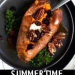 Summertime Sweet Potatoes Pinterest Image bottom black banner