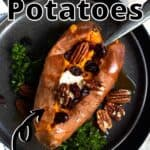 Summertime Sweet Potatoes Pinterest Image top outlined title