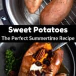 Summertime Sweet Potatoes Pinterest Image middle black banner