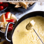 Valentine's Day Cheese Fondue Pinterest Image top striped banner