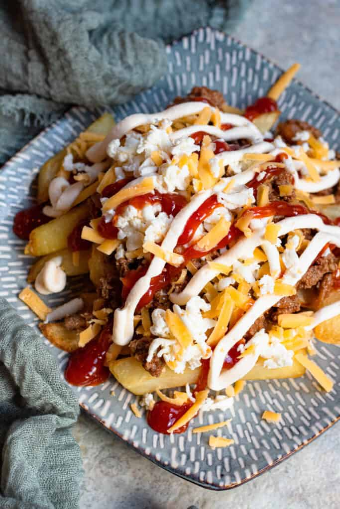 Plate with french fries, cheese, beef mixture, ketchup and mayonnaise