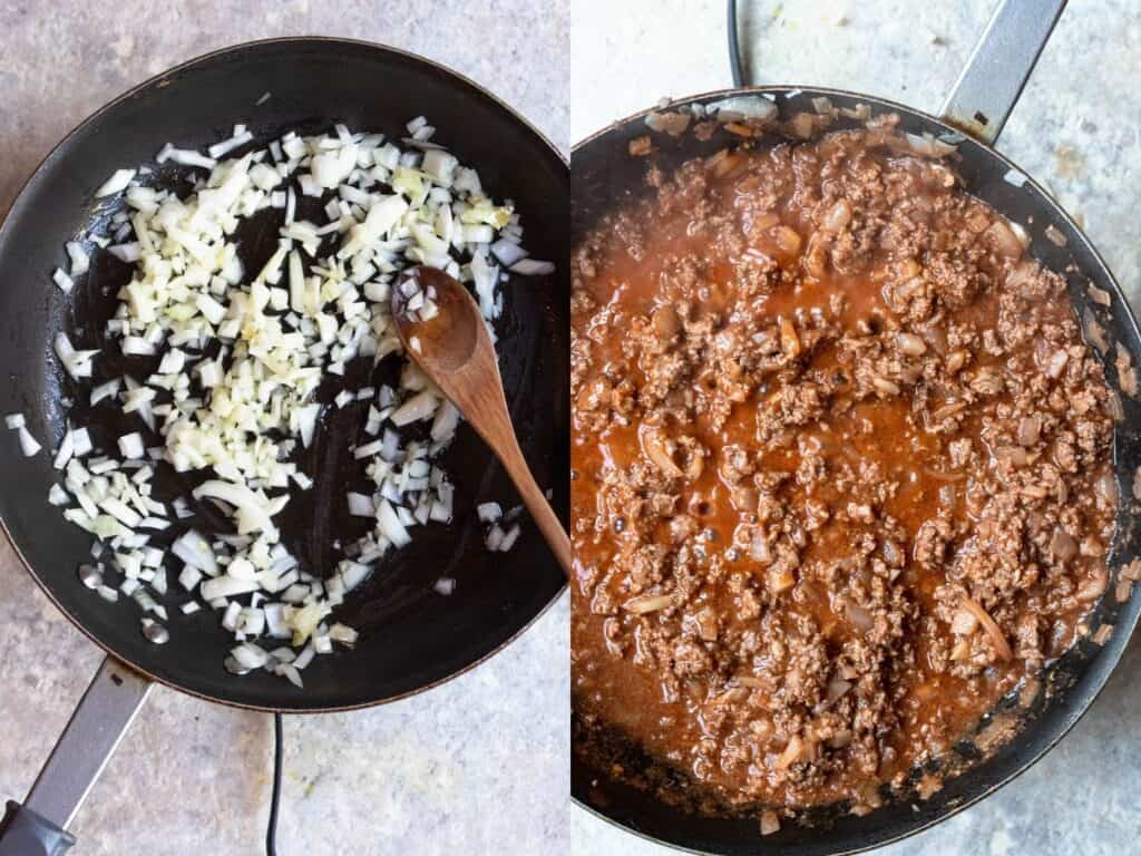 Collage about how to make the beef mixture