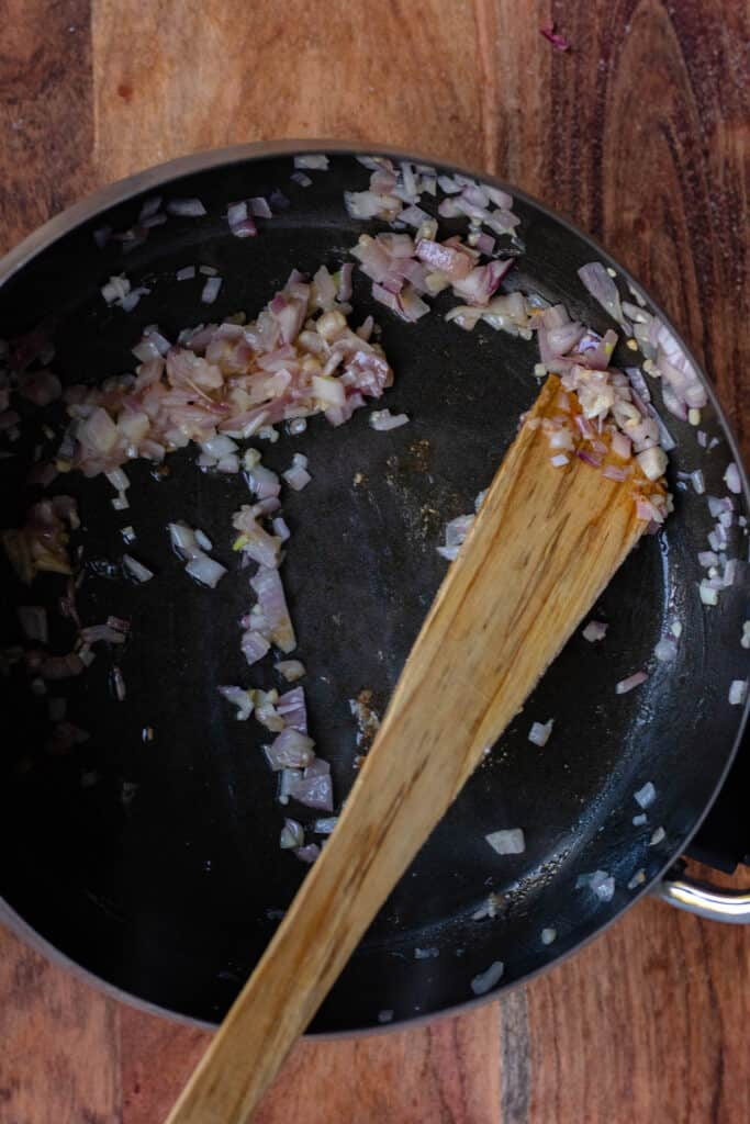 sauteed onion in the fondue pot