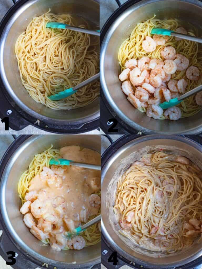 collage of assembling the pasta recipe