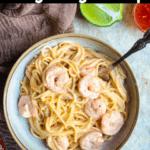 Instant Pot Bang Bang Shrimp Pinterest Image Top Black banner