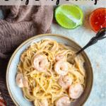 Instant Pot Bang Bang Shrimp Pinterest Image Top Banner with Tan Stripe