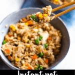 Instant Pot Chicken Fried Rice Pinterest Image Bottom Black Banner