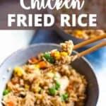 Instant Pot Chicken Fried Rice Pinterest Image top design banner
