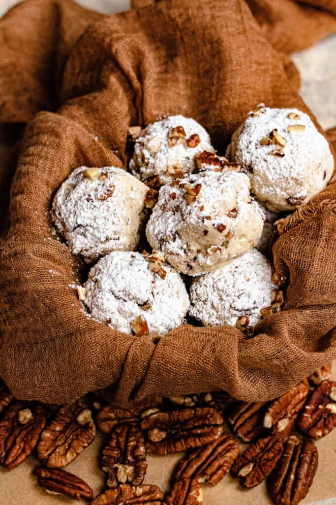 Pecan Snowball Cookies in a basket