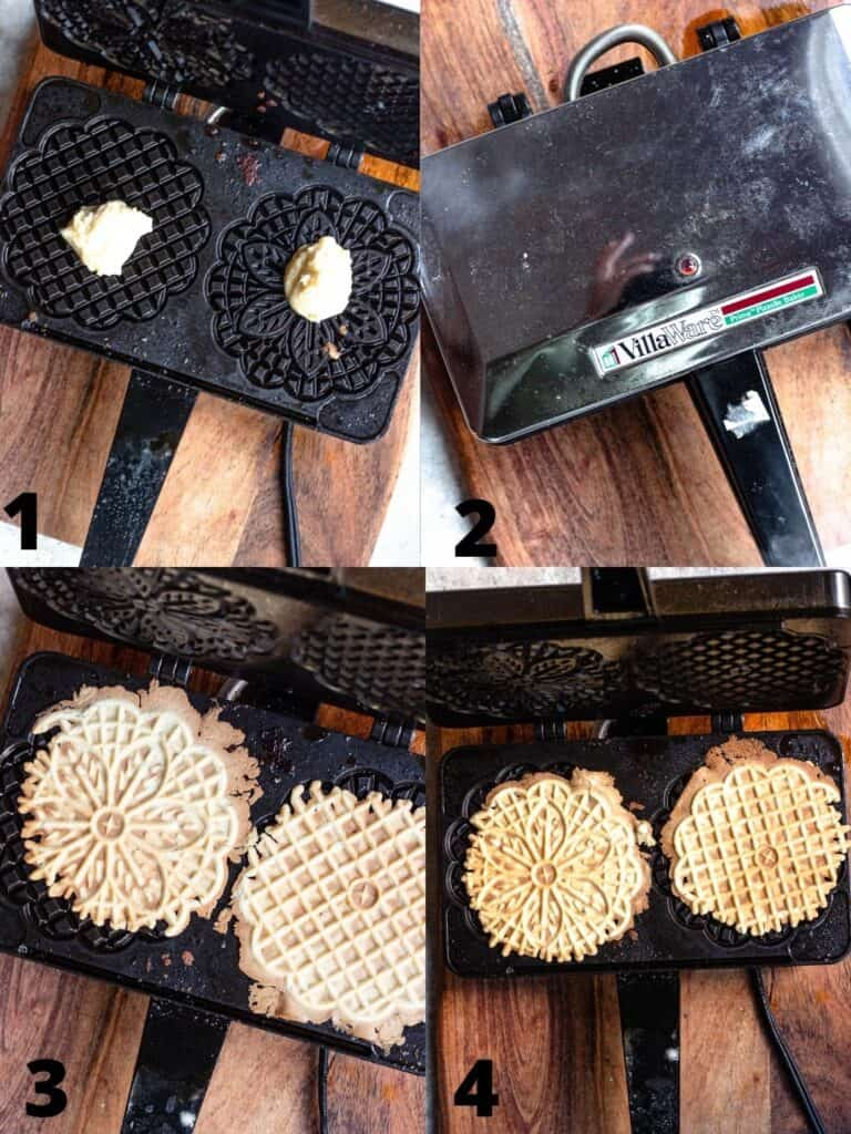 Collage for baking pizzelle in the pizzelle maker