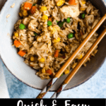 Quick and Easy Chicken Fried Rice Pinterest Image bottom black banner